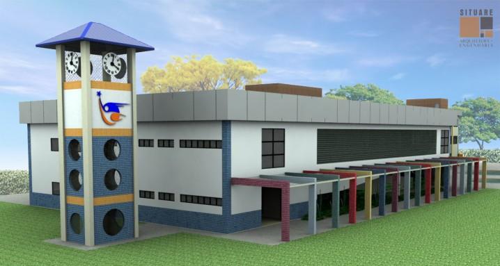 Edifício para educação infantil e Torre do relógio