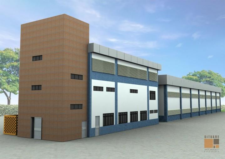 Vista posterior do Edifício de apoio e de educação infantil