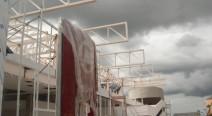 Montagem da estrutura metálica da cobertura